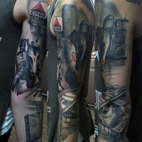 Realism style colored sleeve tattoo of city sights and horse