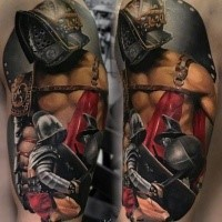 Realism style colored tattoo of medieval gladiator warrior