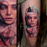 Realism style colored thigh tattoo of incredible nurse with cross
