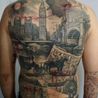 Realism style colored whole back tattoo of medieval London with bloody maniac