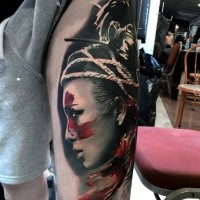 Realism style lifelike colored thigh tattoo of tribal woman with helmet