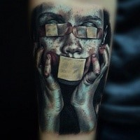 Realism style very detailed arm tattoo of little kid with bandages