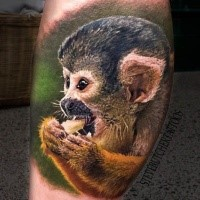 Realism style very detailed leg tattoo of funny monkey