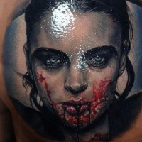 Realistic bloody vampiress tattoo
