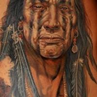 Realistic colorful native american tattoo