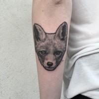Tatuaje en el antebrazo, cara de zorro sensillo