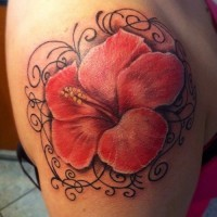 Realistic hibiscus flower and black pattern tattoo