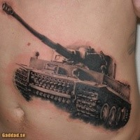 Realistic lifelike belly tattoo of awesome Tiger tank