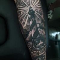 realistico inchiostro nero grande faro con lettere tatuaggio su braccio