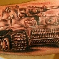 Realistic looking colored arm tattoo of WW2 tiger tank
