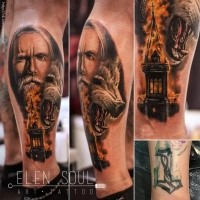 Realistic looking colored leg tattoo of fantasy wizard with wolf and burning church