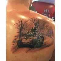 Realistic looking colored scapular tattoo of german WW2 Panther tank