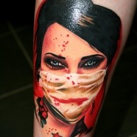Realistic looking colored thigh tattoo of bloody nurse portrait