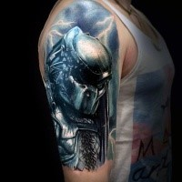 Realistic looking colored thigh tattoo of evil Predator with lightning