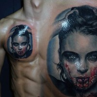 Realistic looking colorful vampire woman tattoo on chest