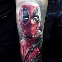 Realistic looking lifelike arm tattoo of Deadpool