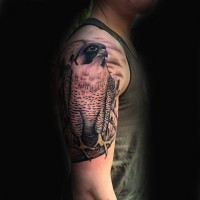 Realistic naturally colored hawk tattoo with moon on shoulder