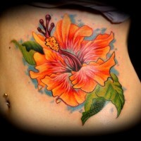 Realistic orange hibiscus flower tattoo on ribs