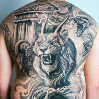 Realistic painted whole back tattoo of demonic lion with snakes and goat