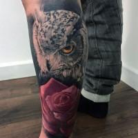 realistico eccezionale foto colorato gufo con rosa tatuaggio su gamba