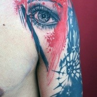 Realistic woman' s eye and black crown red and black tattoo on shoulder in Polka trash style with paint drips