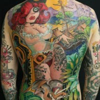Red-haired woman pirate full back tattoo by jee sayalero