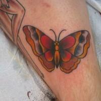 rosso grigio e giallo farfalla tradizionale tatuaggio