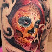 Redhead santa muerte girl witn patterns tattoo