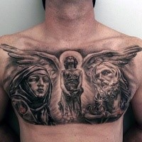 Religious style chest tattoo of angel and old people