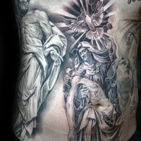 Religious style colored belly tattoo of angels and pigeon