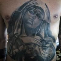 Religious style colored chest and belly tattoo of praying woman in hood