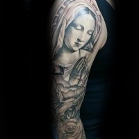 Religious style colored shoulder tattoo of praying woman with rose