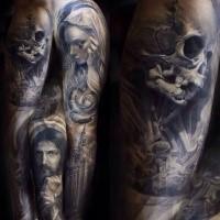 Religiöser Stil farbiges Ärmel Tattoo mit Engel und der Kathedrale