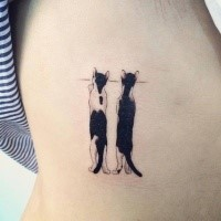 Romantic painted for girls tattoo of funny cats