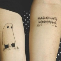 Sad lonely ghost tattoo with arrow