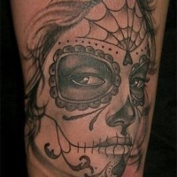 Sad lovely day of the dead girl tattoo