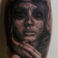 Sad nice santa muerte girl tattoo