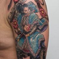Tatuaggio grande sul braccio il samurai by graynd