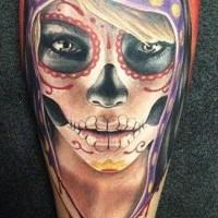 Santa muerte girl in a black hood tattoo