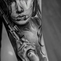 Santa muerte girl with a gun tattoo by Jun Cha