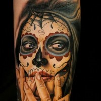 Santa muerte girl with playing cards tattoo