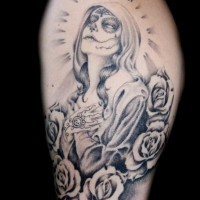Santa muerte praying girl tattoo