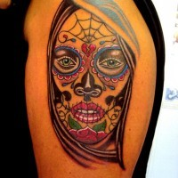 Santa muerte tattoo on shoulder for men