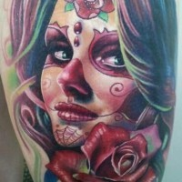 Santa muerte girl with red rose tattoo