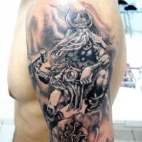 Scandinavian god odin tattoo on half sleeve