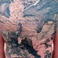 Scandinavian god thor and dragon tattoo on whole back