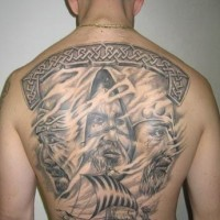 Scandinavian gods and vikings on a boat tattoo on back