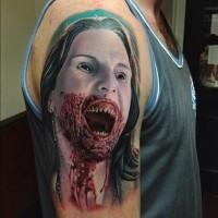 Scary vampire bleeding girl tattoo on half sleeve