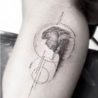 scientifico stile inchiostro nero cerchio con elefante tatuaggio su braccio