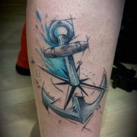 Scientific style painted and colored anchor with compass tattoo on leg